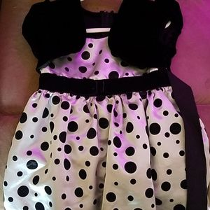 Girls polka dot dress with crushed velvet